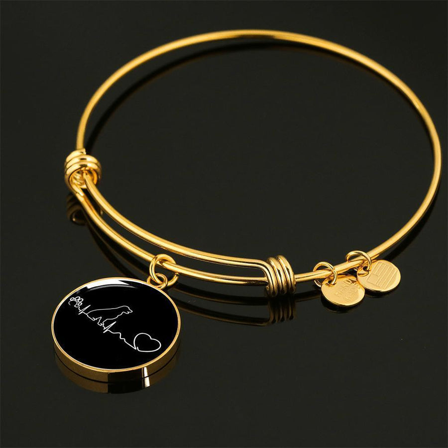 Dog Veterinarian Jewelry Gift Adjustable Luxury Bangle Bracelet - Dog heartbeat-Bangle Bracelet-I love Veterinary