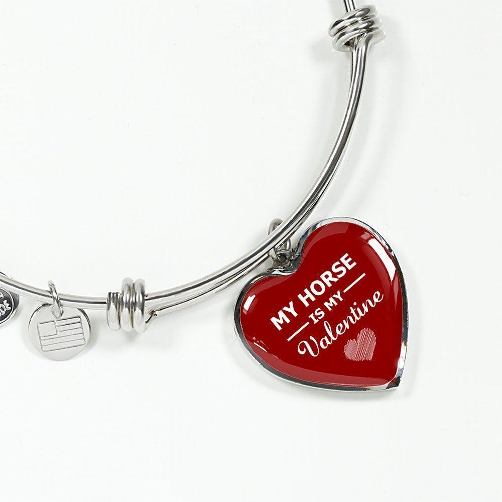 Equine Veterinarian Jewelry Gift Adjustable Luxury Bangle Bracelet Heart - My horse is my Valentine-Bangle Bracelet-I love Veterinary