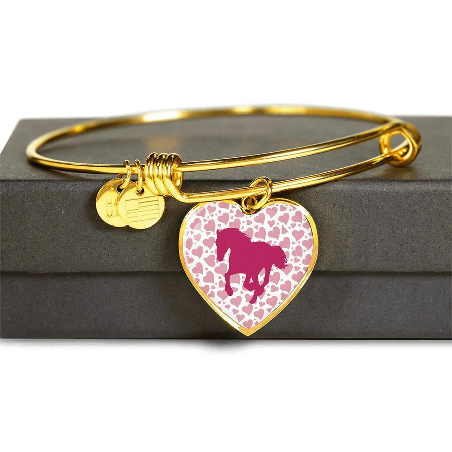 Equine Veterinarian Jewelry Gift Adjustable Luxury Bangle Bracelet Heart- Valentine Horse-Bangle Bracelet-I love Veterinary