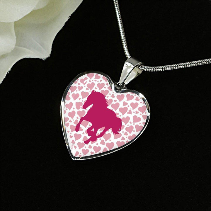 Equine Veterinarian Jewelry Gift Luxury Heart Necklace - Valentine Horse-Bangle Bracelet-I love Veterinary