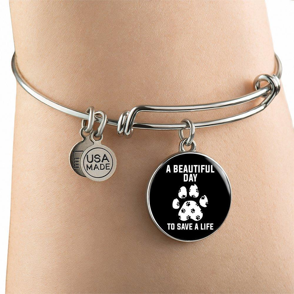 Veterinary Jewelry Gift Adjustable Luxury Bangle Bracelet - A beautiful day to save a life-Bangle Bracelet-I love Veterinary