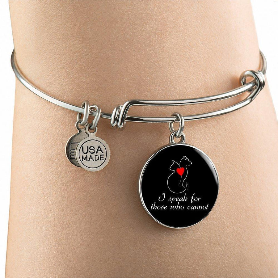 Veterinary Jewelry Gift Adjustable Luxury Bangle Bracelet - I speak for those who cannot-Bangle Bracelet-I love Veterinary