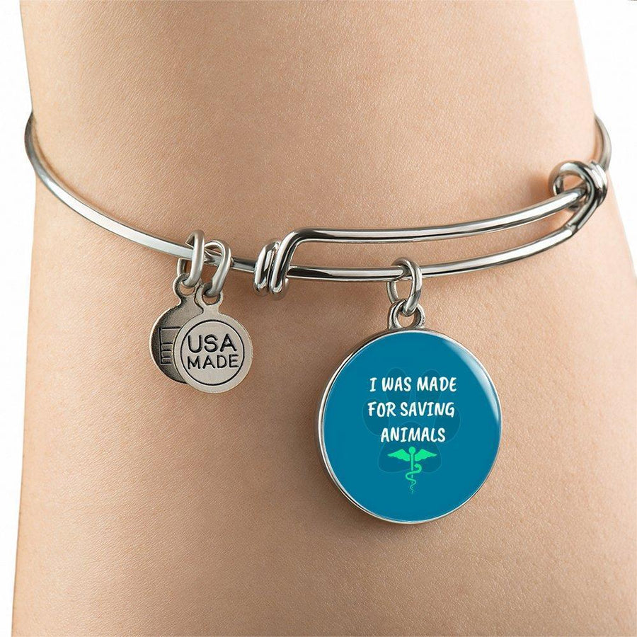 Veterinary Jewelry Gift Adjustable Luxury Bangle Bracelet - I was made for saving animals-Bangle Bracelet-I love Veterinary