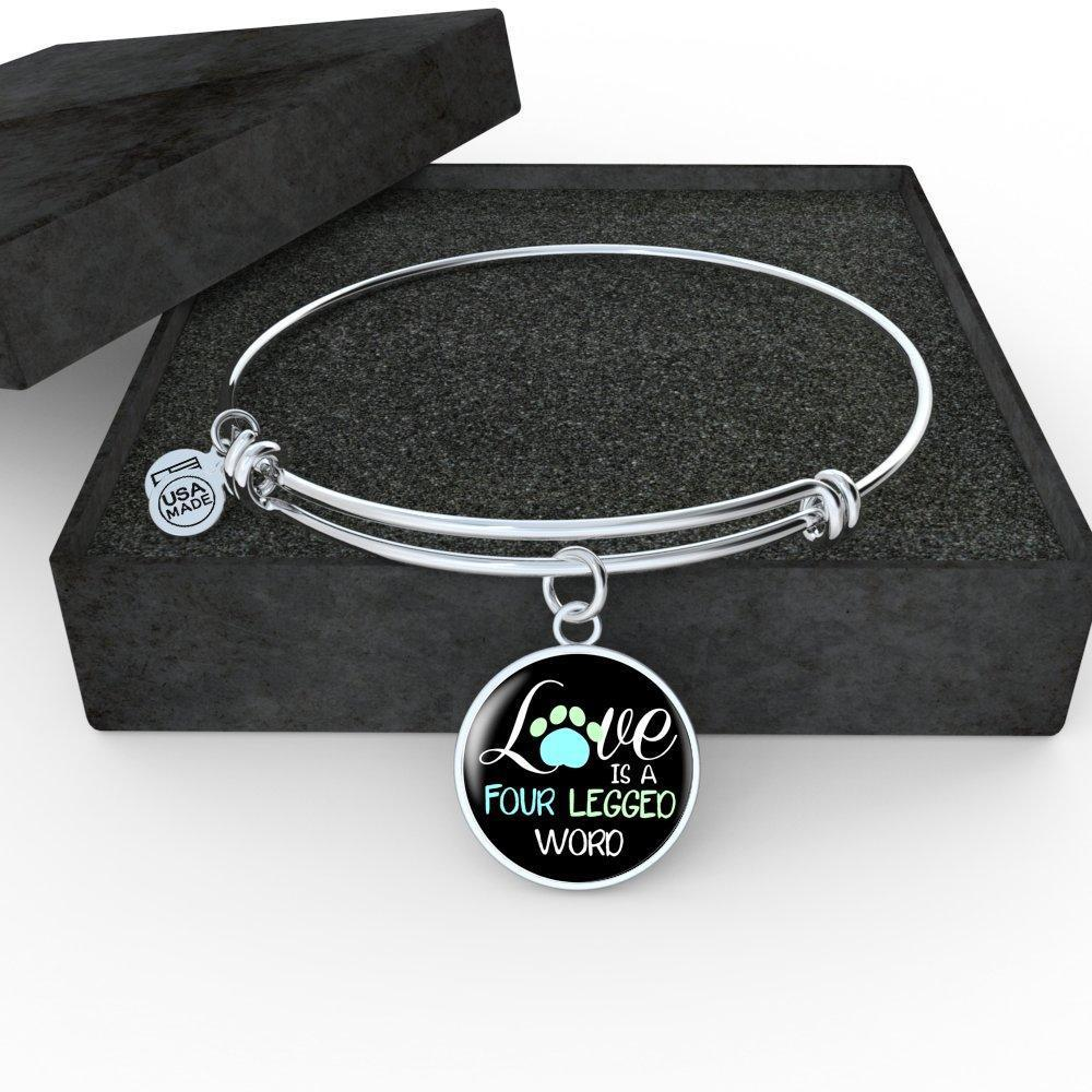 Veterinary Jewelry Gift Adjustable Luxury Bangle Bracelet - Love is four legged word-Bangle Bracelet-I love Veterinary