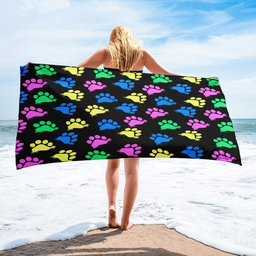 Colorful paws Black Beach Towel