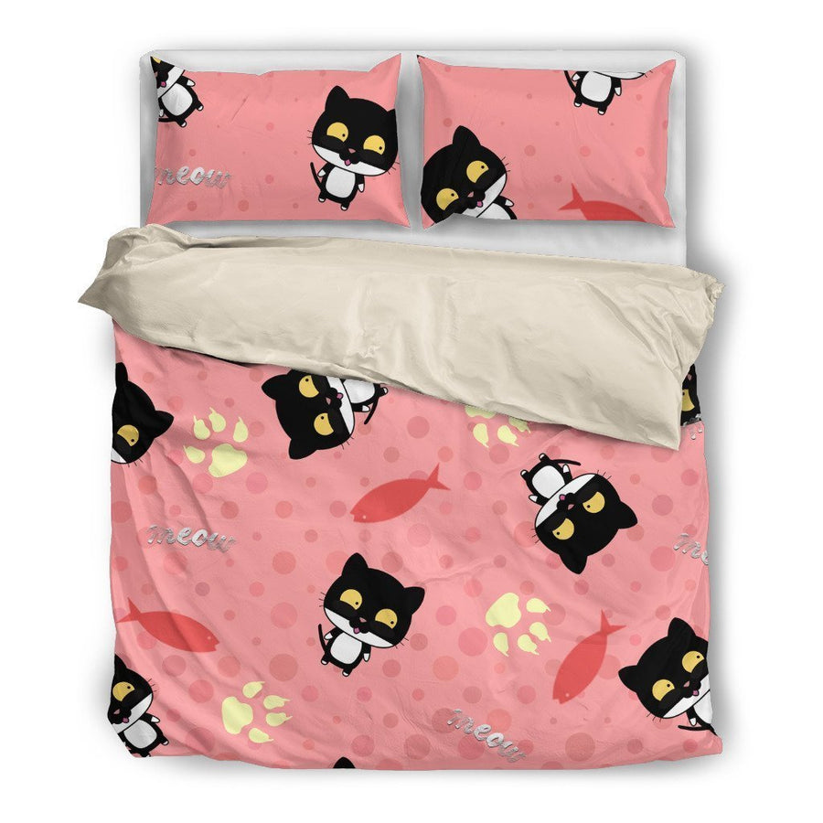 Black Cat Bedding Set-Bed sheets-I love Veterinary
