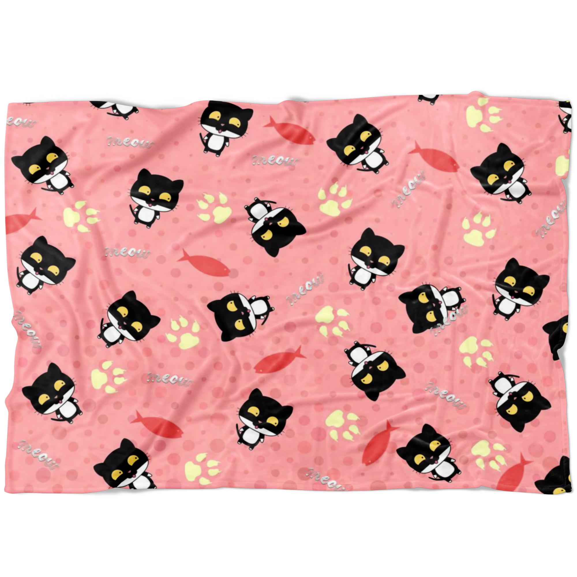 Black cat Fleece Blanket-Blankets-I love Veterinary