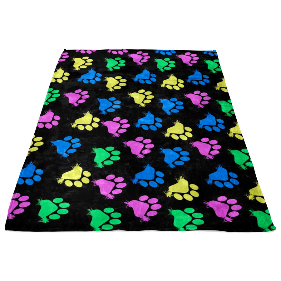 Colorful Paws Black Fleece Blanket