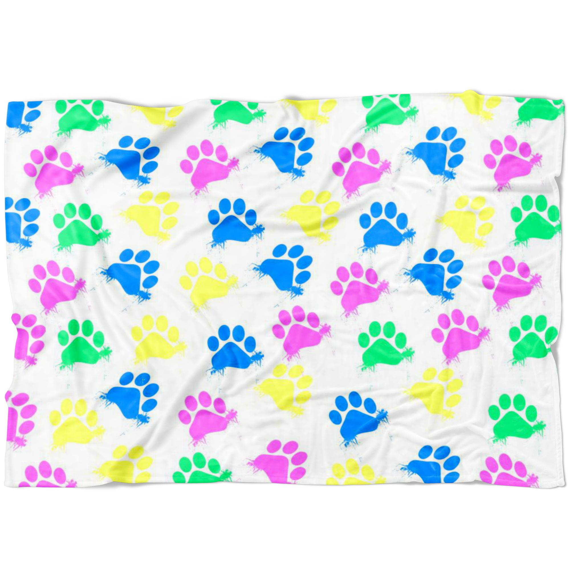 Colorful Paws White Fleece Blanket-Blankets-I love Veterinary