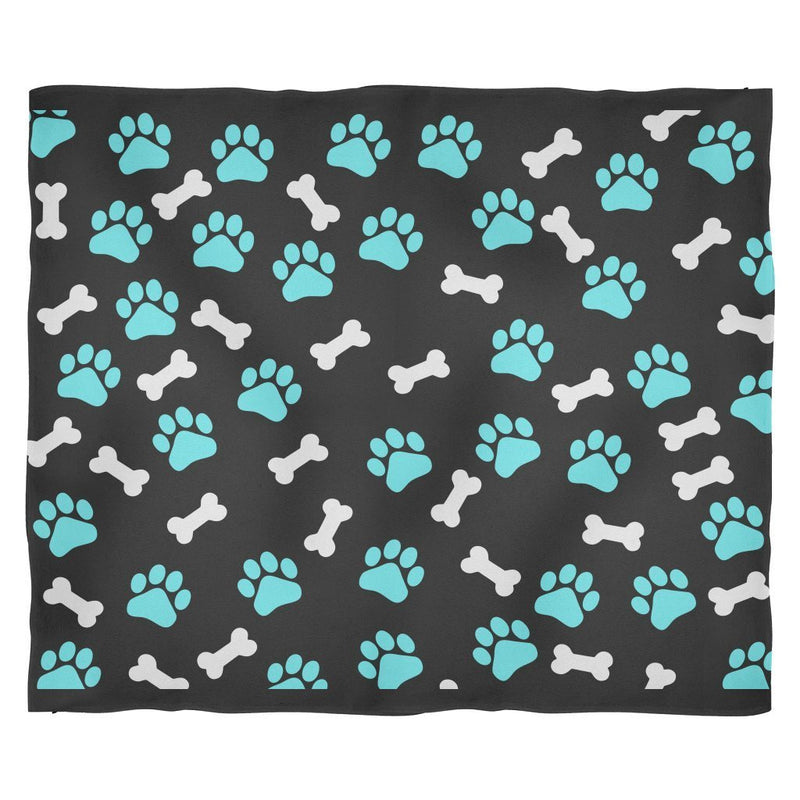 Paws and bones Black Fleece Blanket-Blankets-I love Veterinary