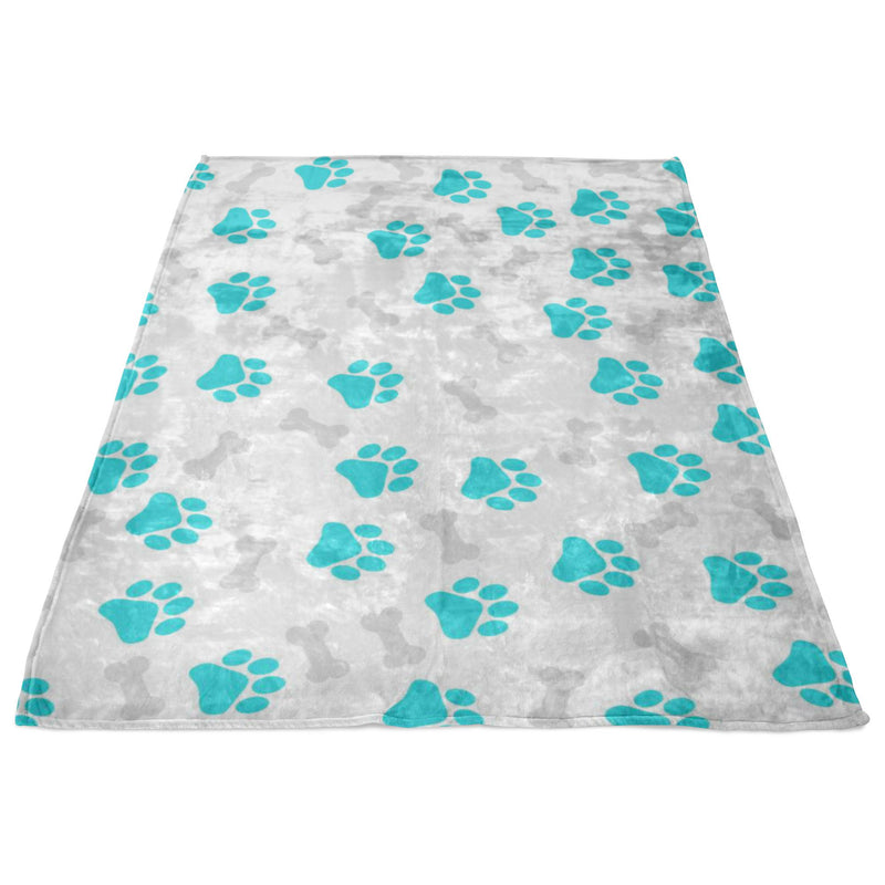 Paws and Bones White Fleece Blanket-Blankets-I love Veterinary