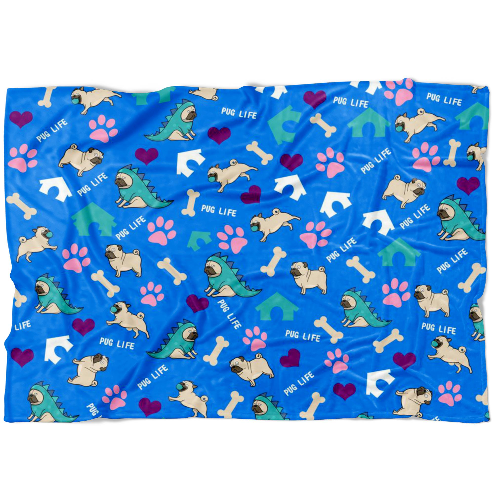 Pug Life Fleece Blanket-Blankets-I love Veterinary