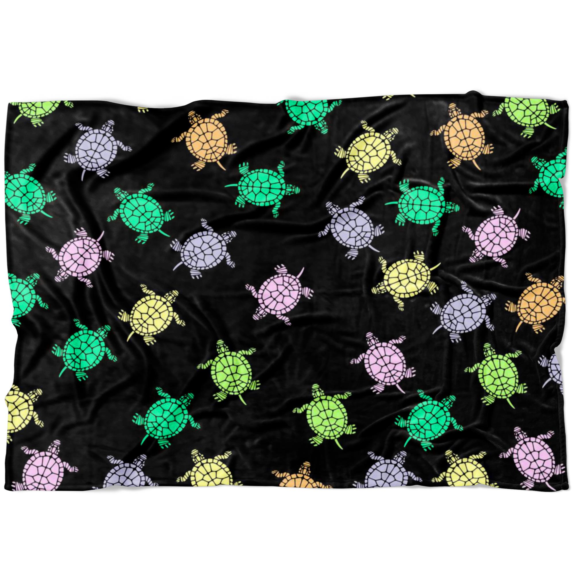 Sea Turtles Black Fleece Blanket-Blankets-I love Veterinary