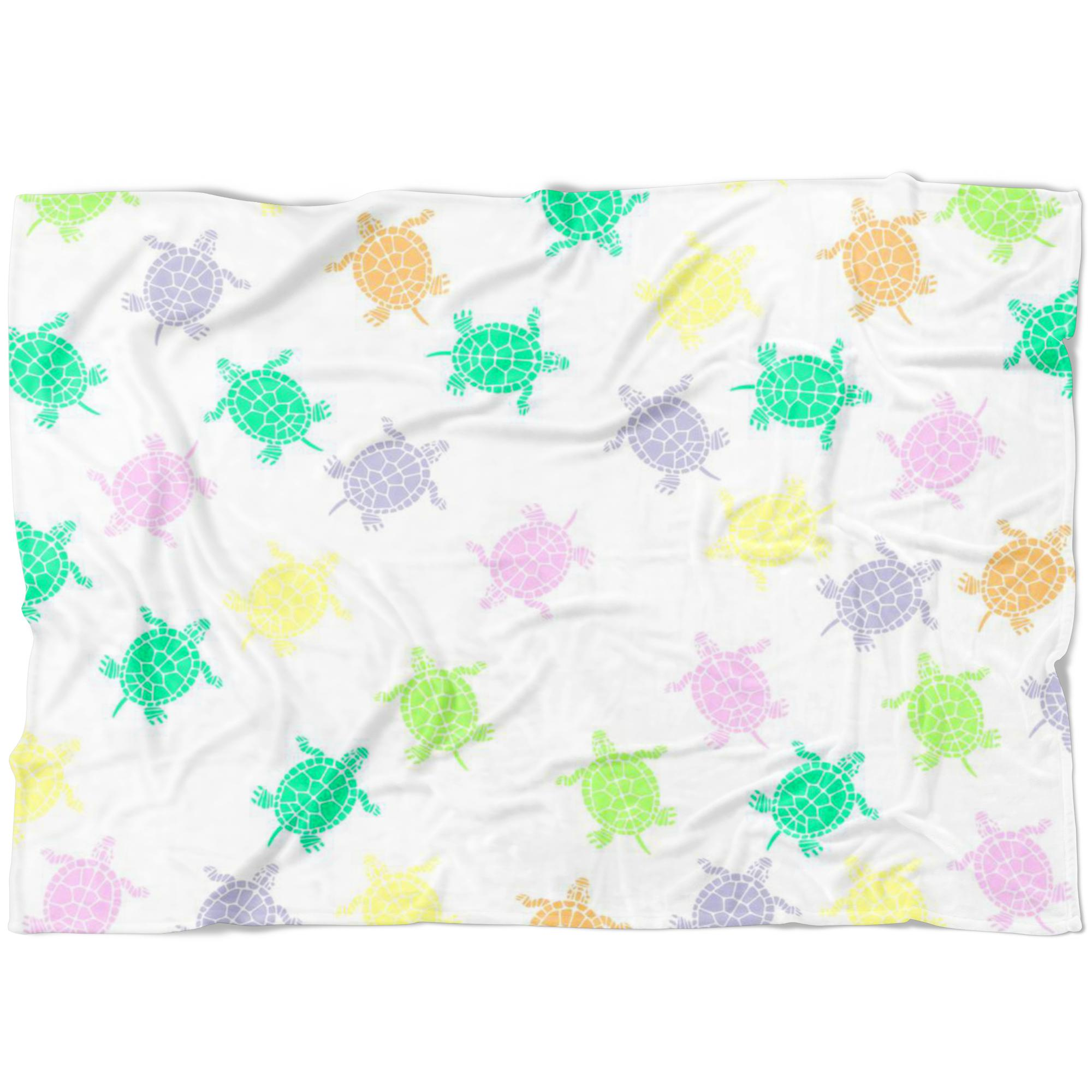 Sea Turtles White Fleece Blanket-Blankets-I love Veterinary