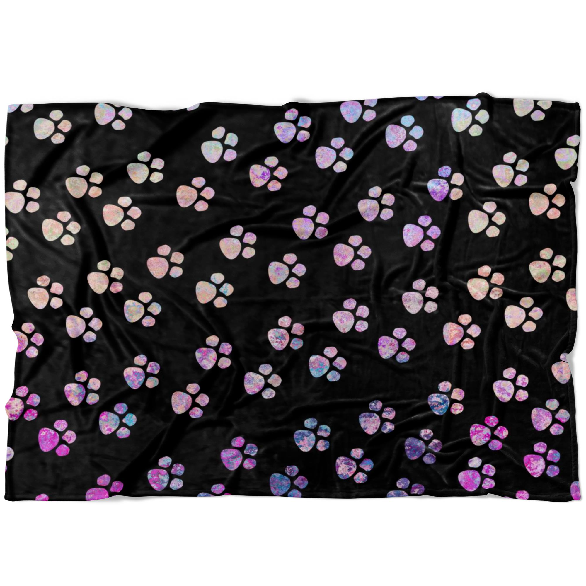 Watercolor Paws Fleece Blanket-Blankets-I love Veterinary