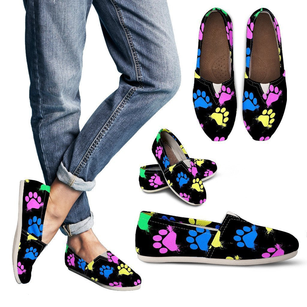 Colorful Paws Black Women's Casual Shoes-Casual shoes-I love Veterinary