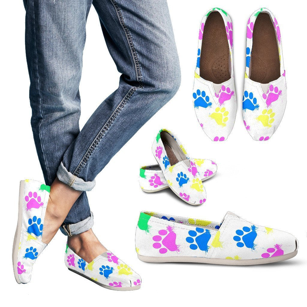 Colorful Paws White Women's Casual Shoes-Casual shoes-I love Veterinary