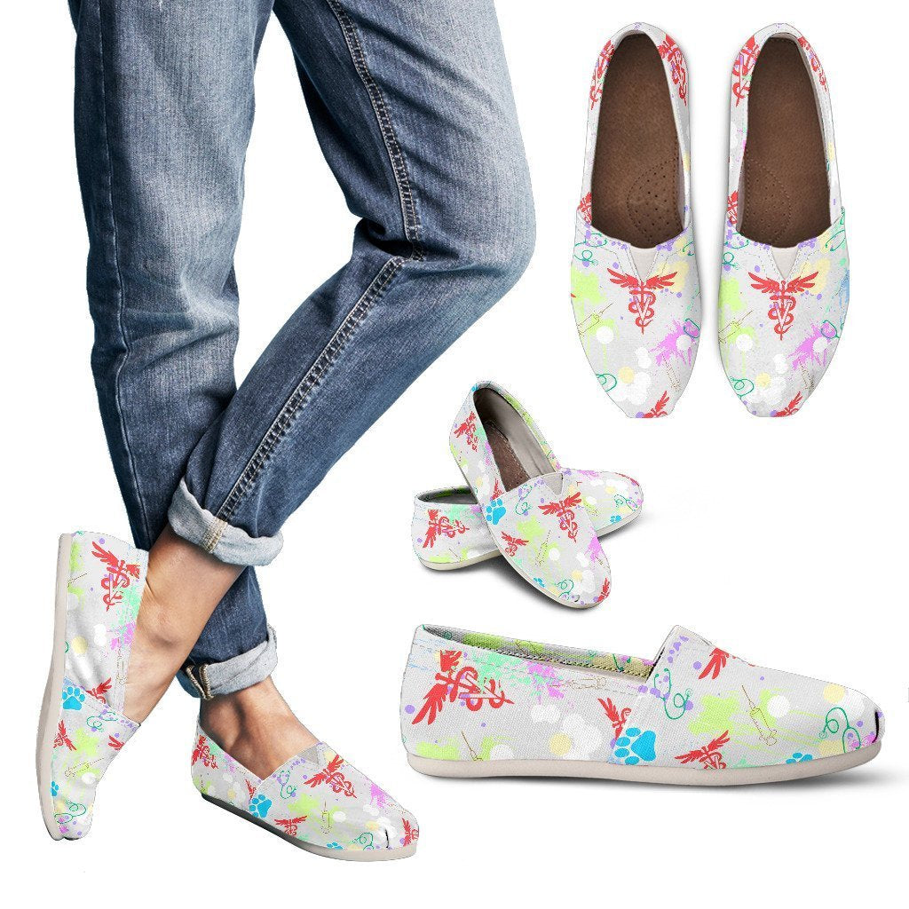 Veterinary Pattern White Women's Casual Shoes-Casual shoes-I love Veterinary