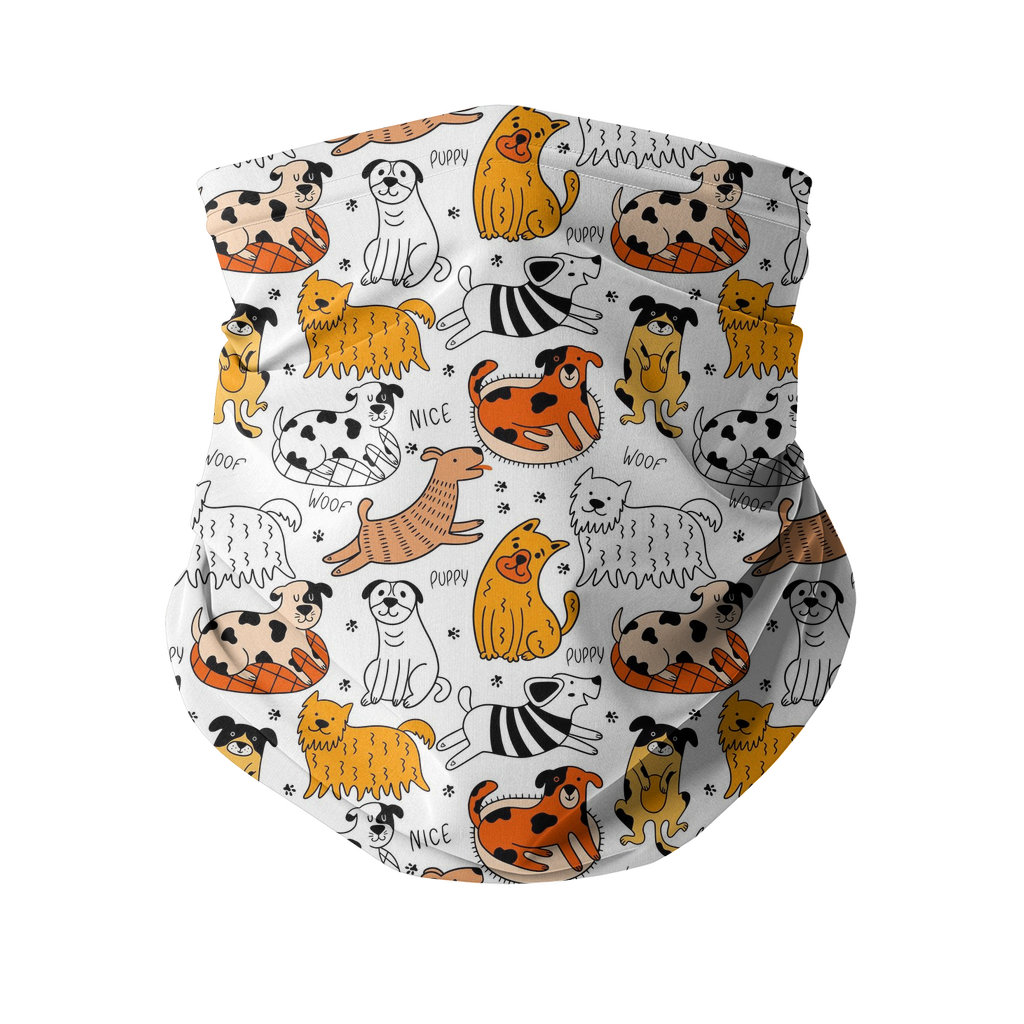 Orange Dogs pattern Sublimation Neck Gaiter-Accessories-I love Veterinary