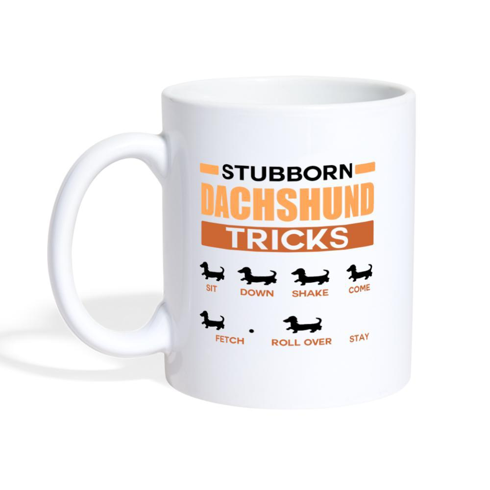 Stubborn dachshund tricks White Coffee or Tea Mug-Coffee/Tea Mug-I love Veterinary