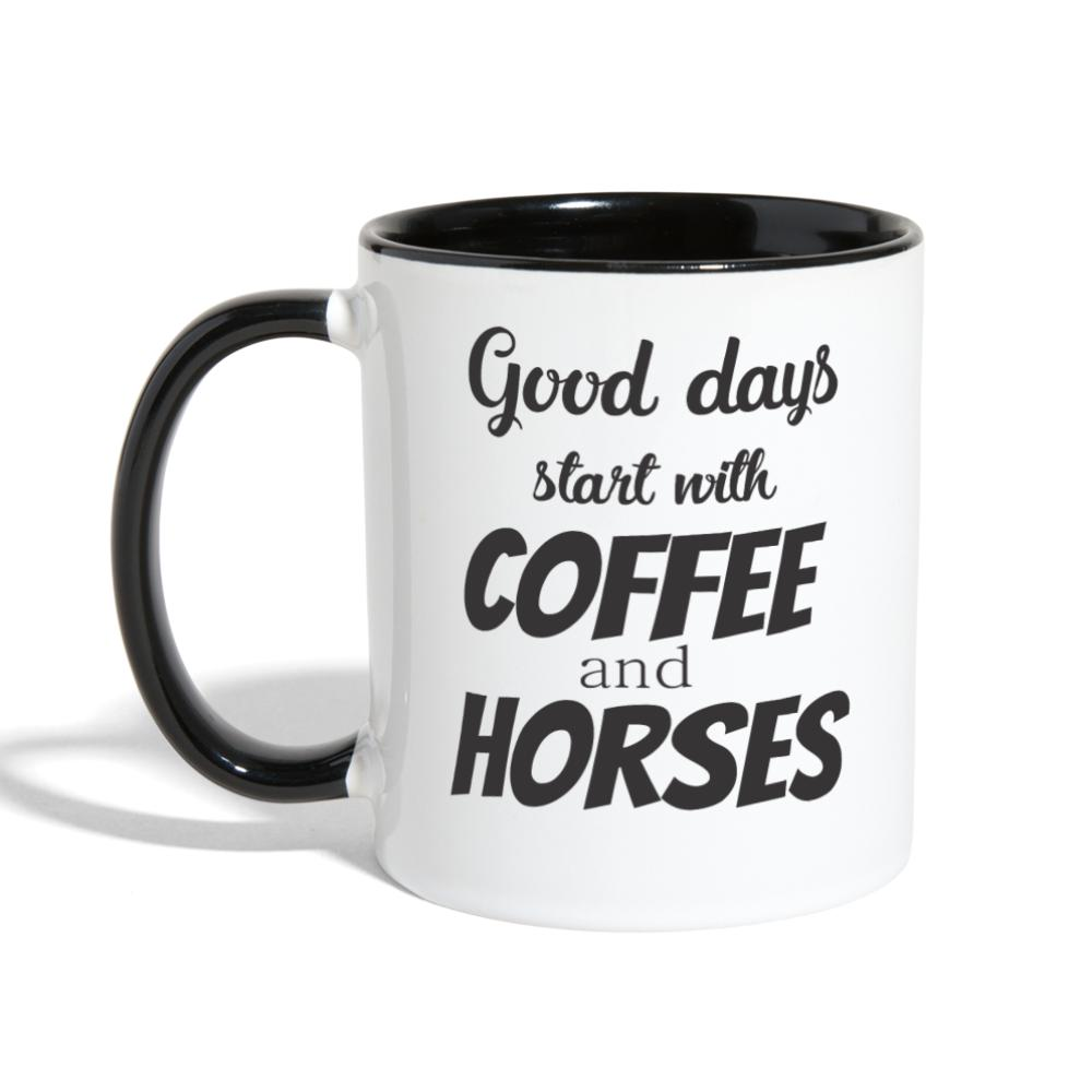 Coffee and Horses Contrast Coffee Mug-Contrast Coffee Mug-I love Veterinary