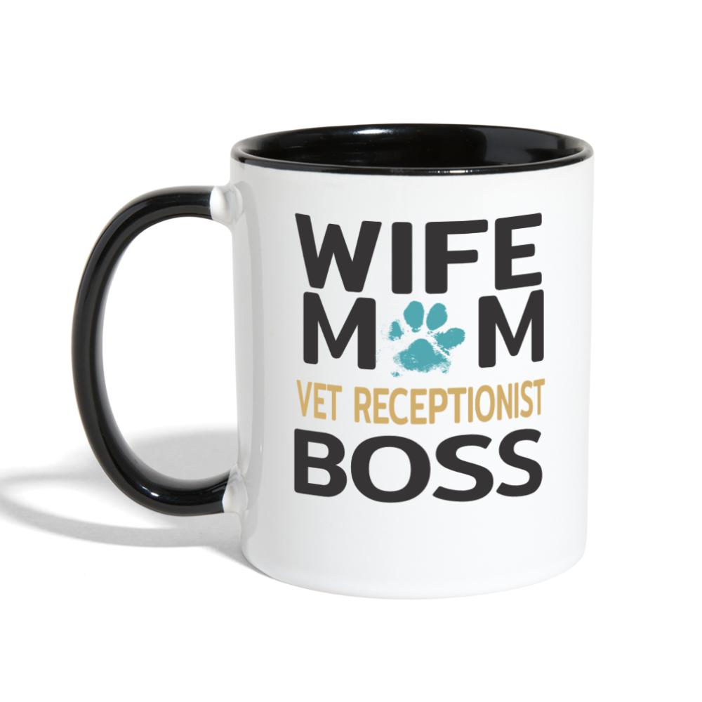 Vet Receptionist - Wife, Mom, Boss Contrast Coffee Mug-Contrast Coffee Mug-I love Veterinary