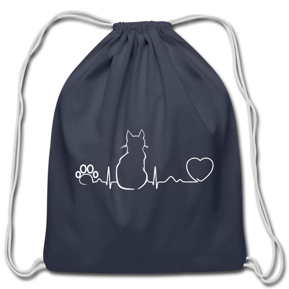 Cat Pulse Drawstring Bag-Cotton Drawstring Bag-I love Veterinary