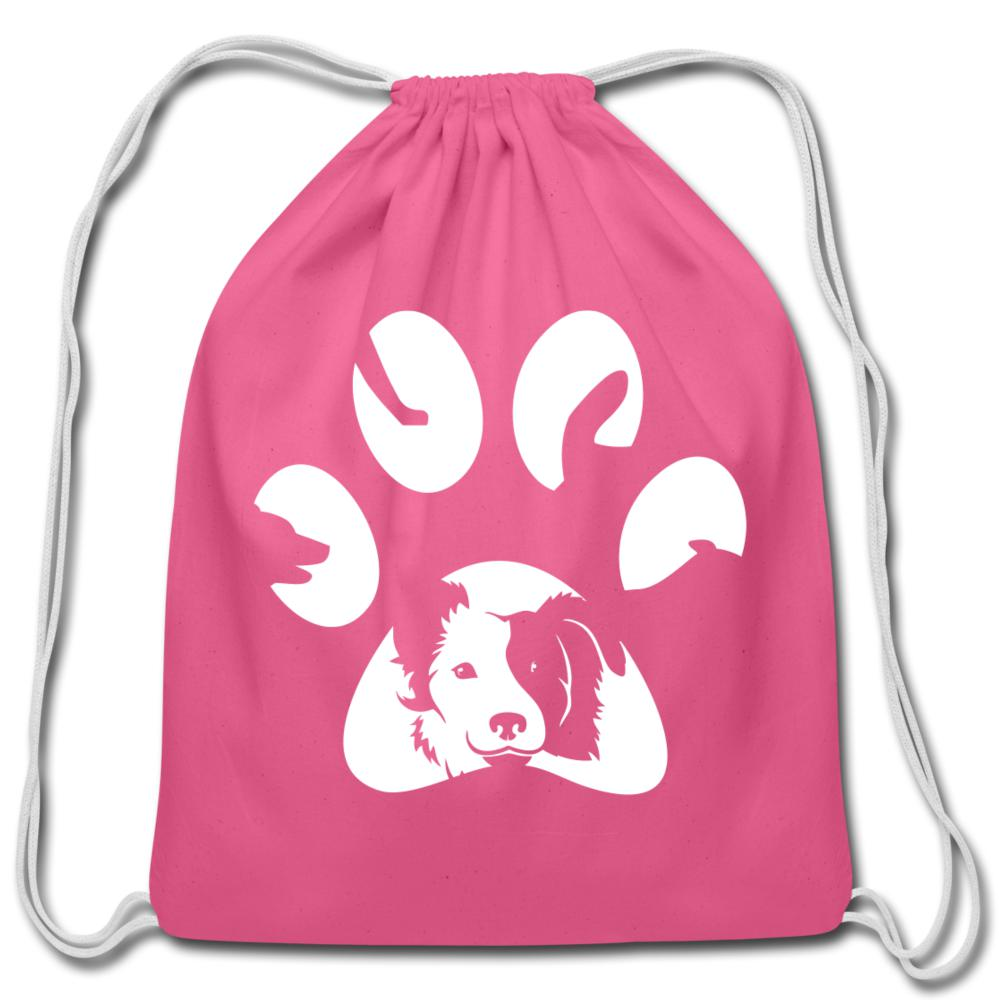Dog Pawprint Drawstring Bag-Cotton Drawstring Bag-I love Veterinary