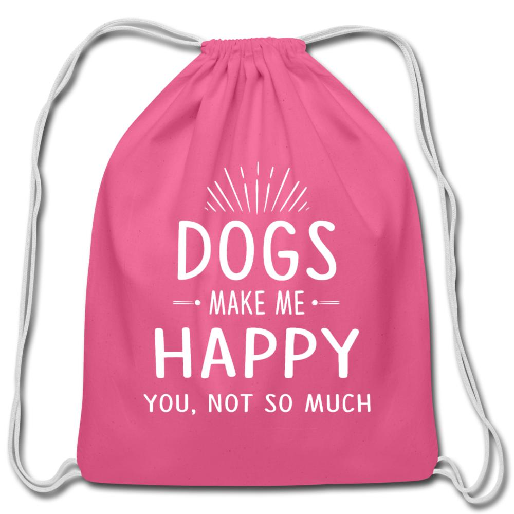 Dogs make me happy Drawstring Bag-Cotton Drawstring Bag-I love Veterinary