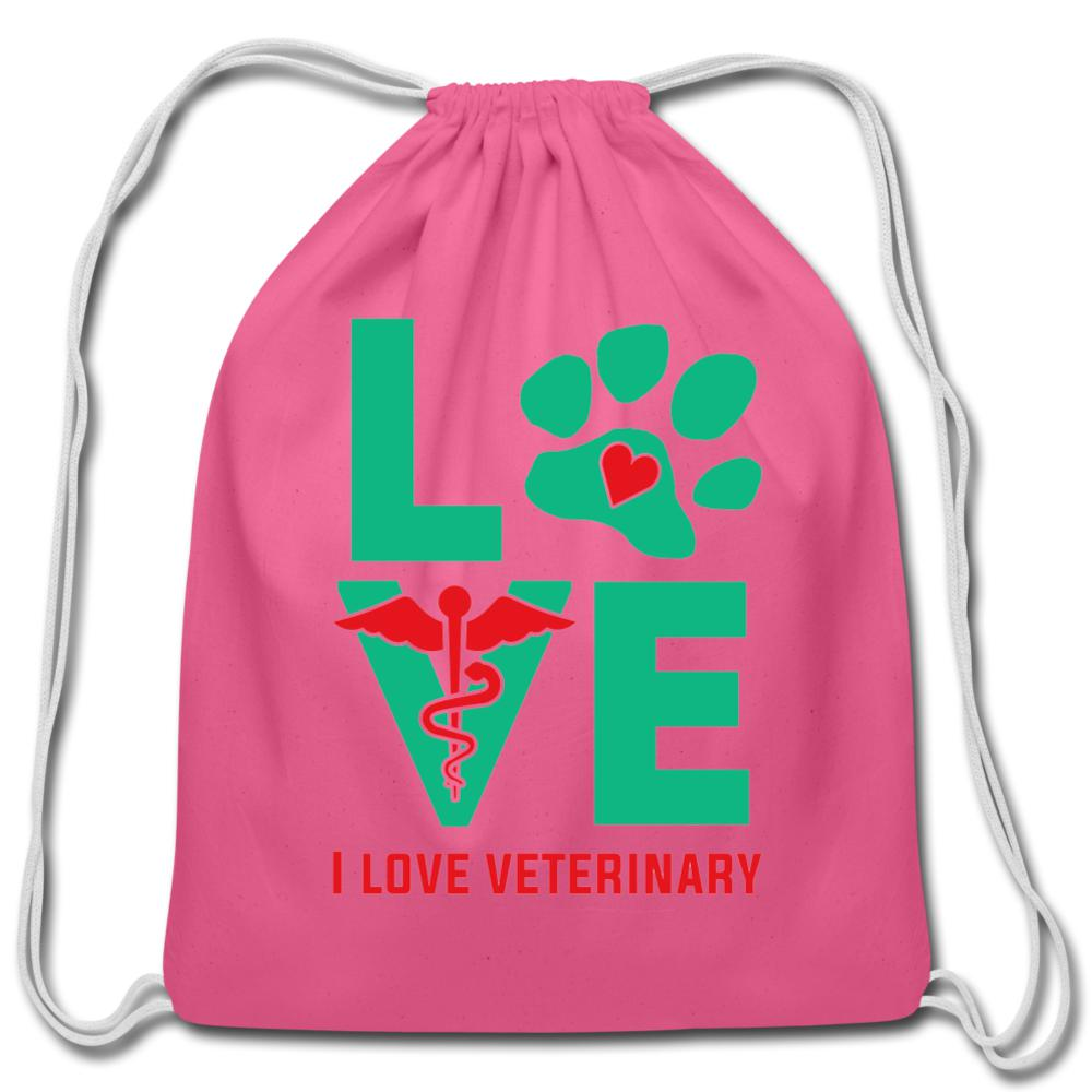 I love veterinary - Drawstring Bag-Cotton Drawstring Bag-I love Veterinary