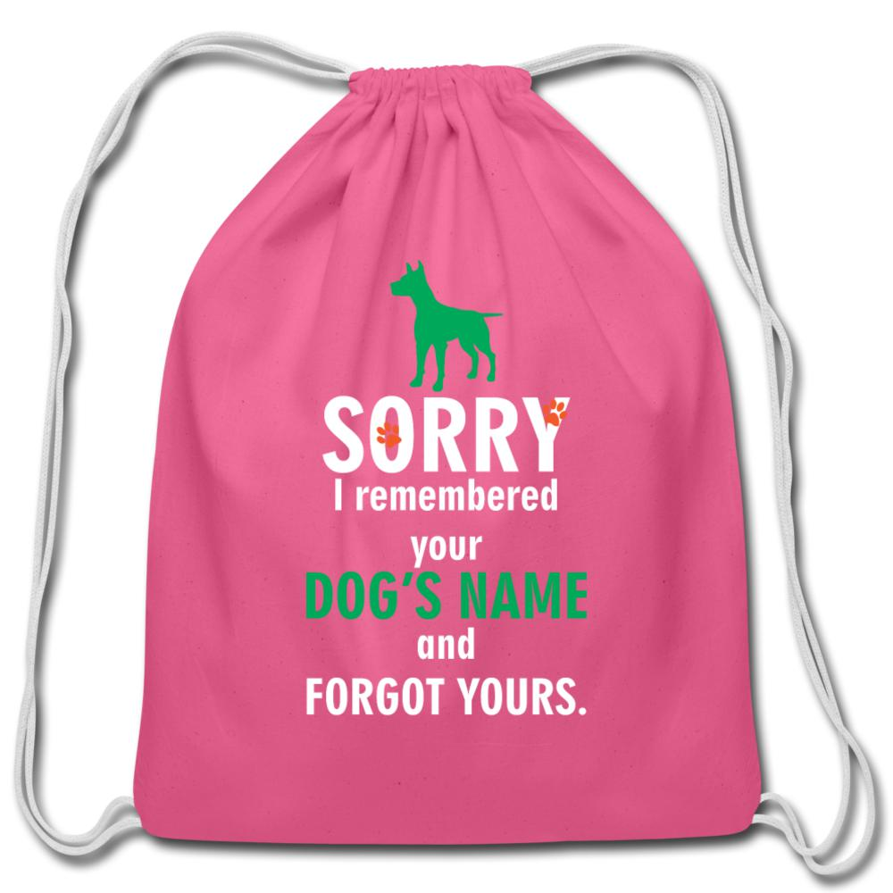 I remembered your dogs name Drawstring Bag-Cotton Drawstring Bag-I love Veterinary
