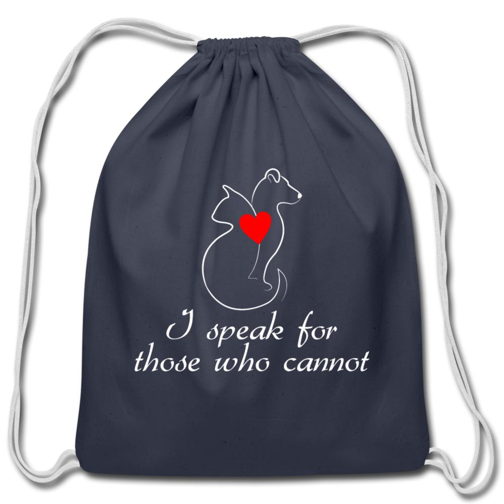 I speak for those who cannot Drawstring Bag-Cotton Drawstring Bag-I love Veterinary