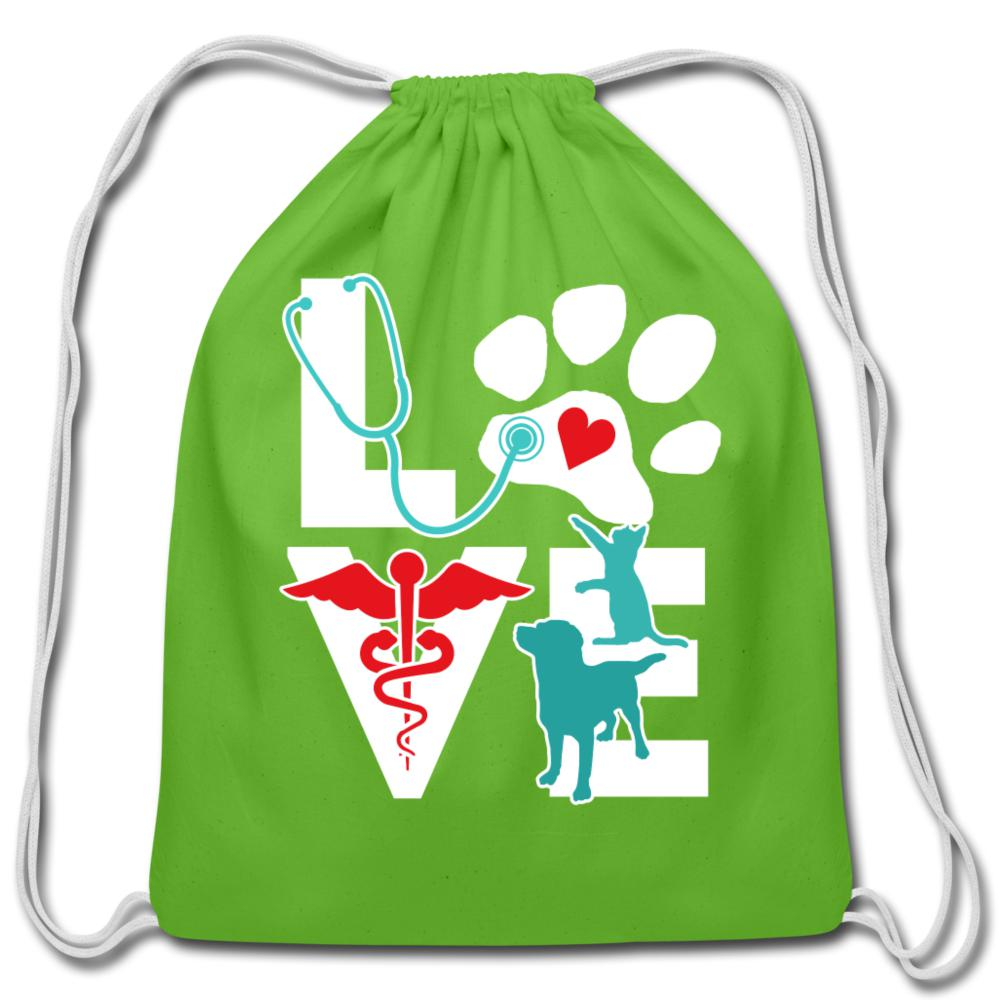 Love Dog and Cat Cotton Drawstring Bag-Cotton Drawstring Bag-I love Veterinary