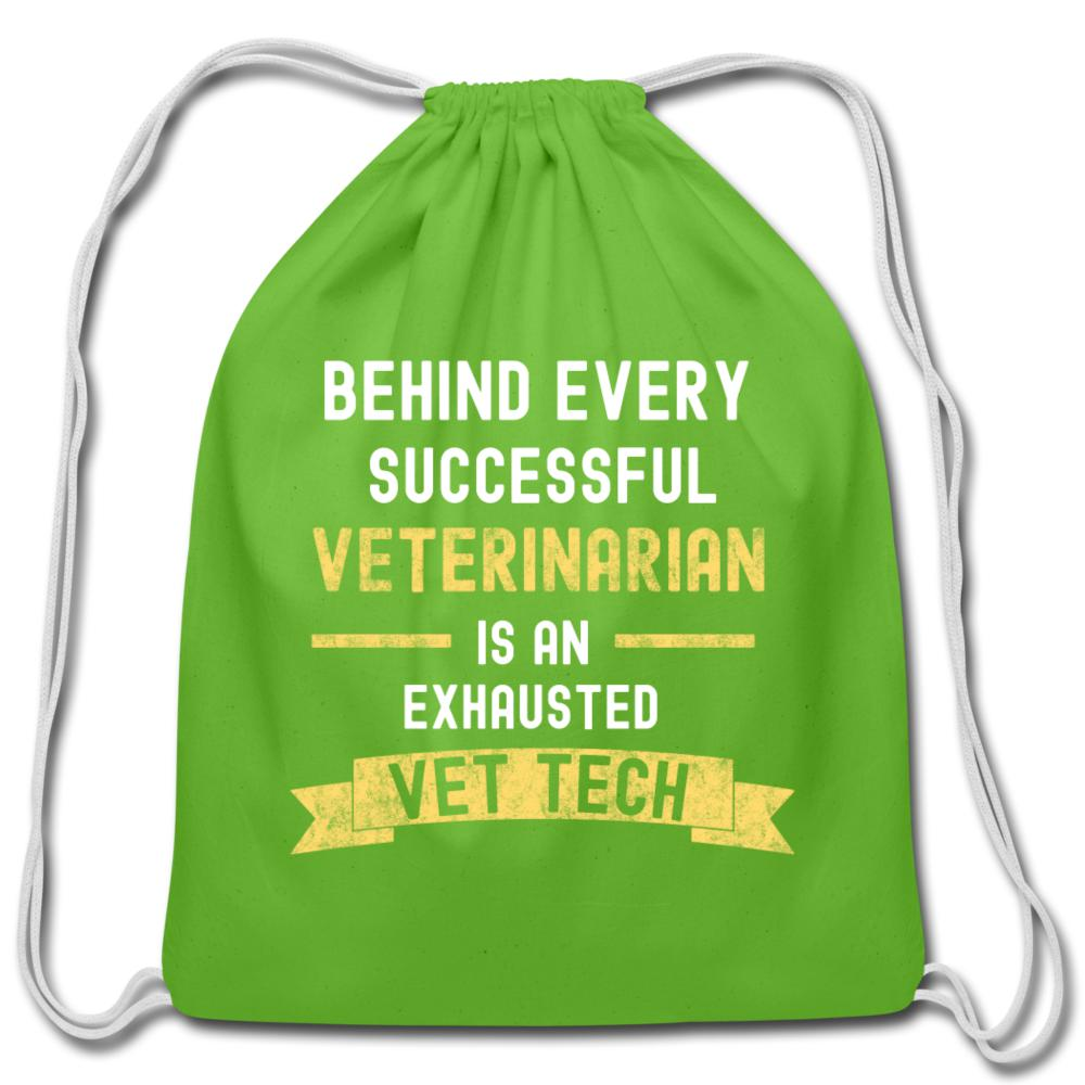Successful Vet, Exhausted Vet Tech Drawstring Bag-Cotton Drawstring Bag-I love Veterinary