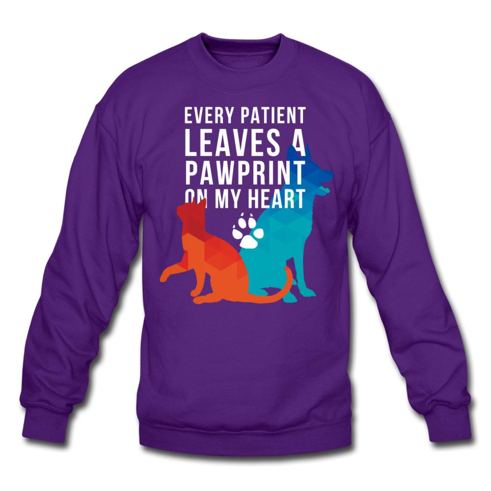 Every patient leaves a pawprint on my heart Crewneck Sweatshirt-Crewneck Sweatshirt-I love Veterinary