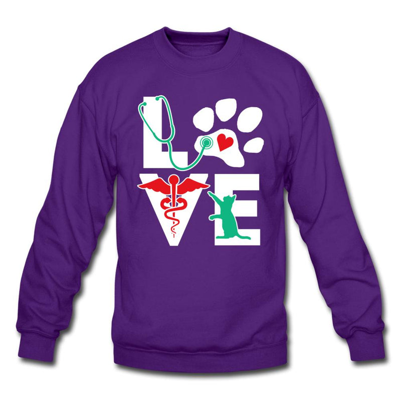 Love Cat Crewneck Sweatshirt-Crewneck Sweatshirt-I love Veterinary