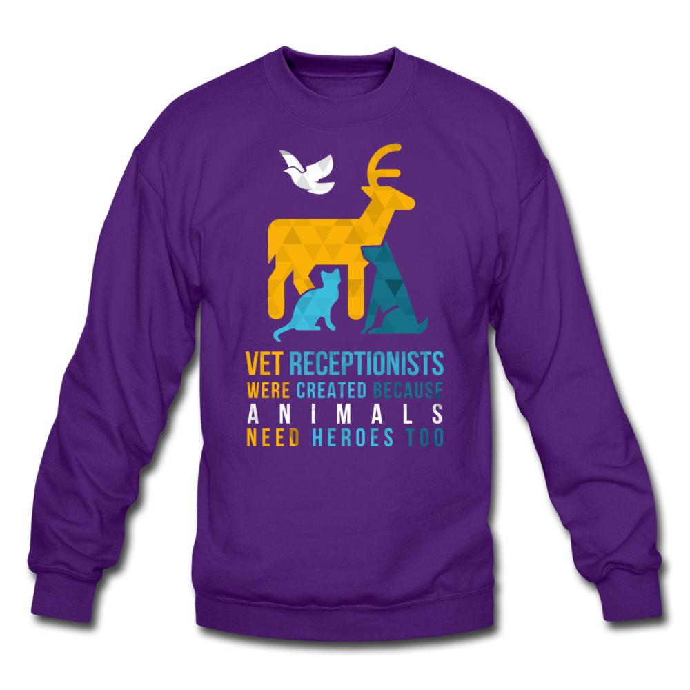 Vet receptionists were created because animals need heroes too Crewneck Sweatshirt-Crewneck Sweatshirt-I love Veterinary