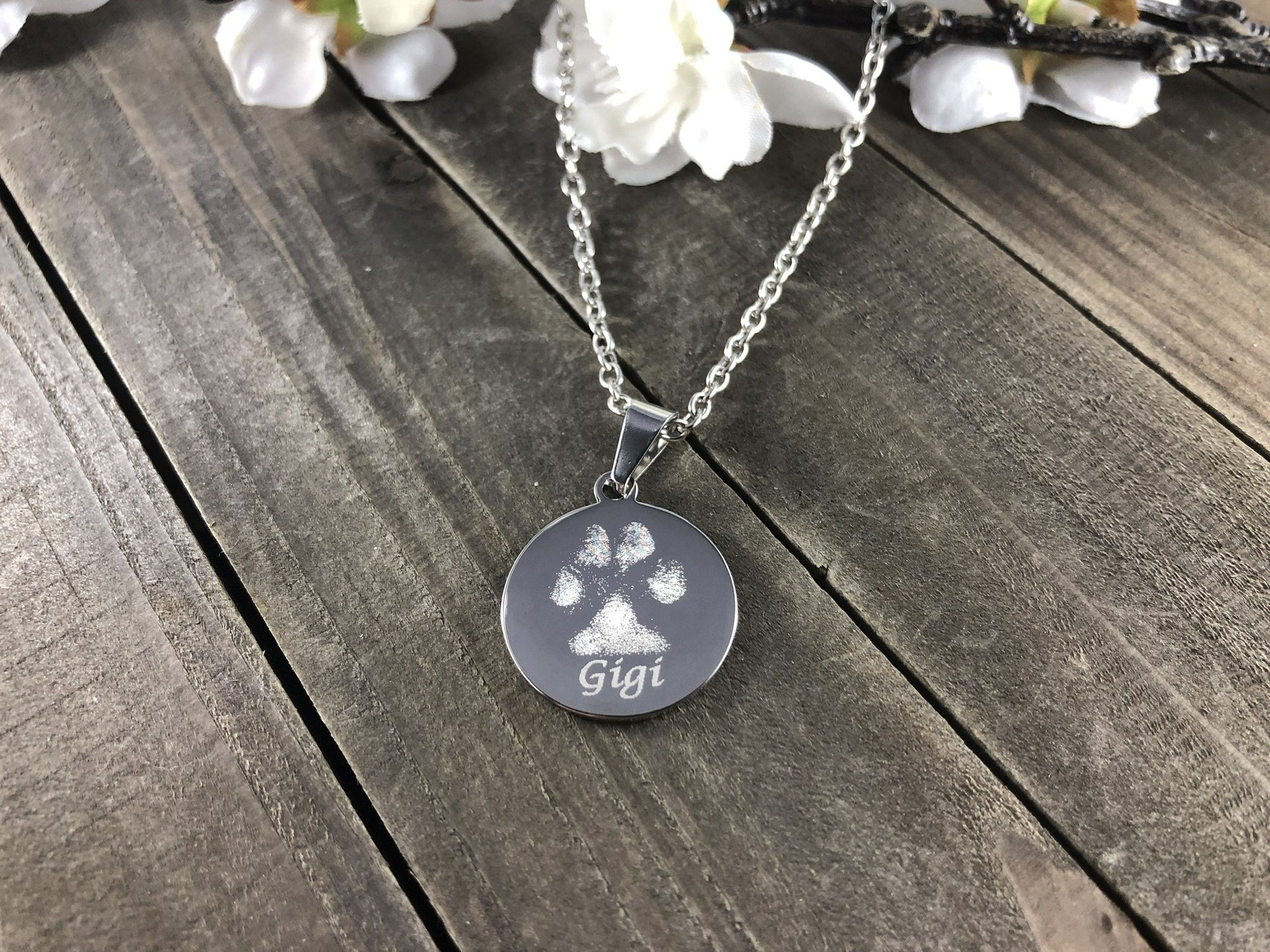 Custom made necklace from a paw print of your pet-Custom Necklace-I love Veterinary