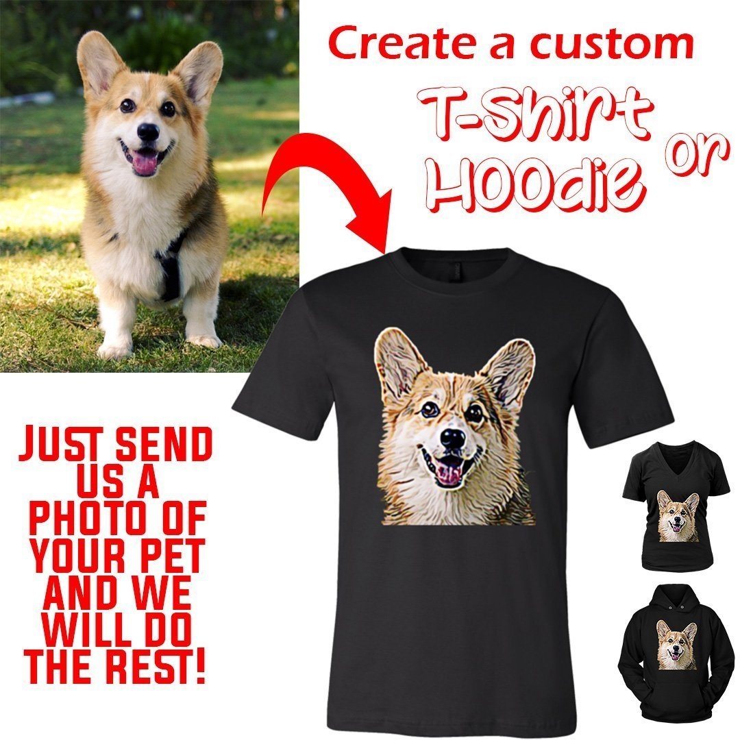 Custom T-shirt/Hoodie from a Photo of Your Pet-Custom T-shirt-I love Veterinary