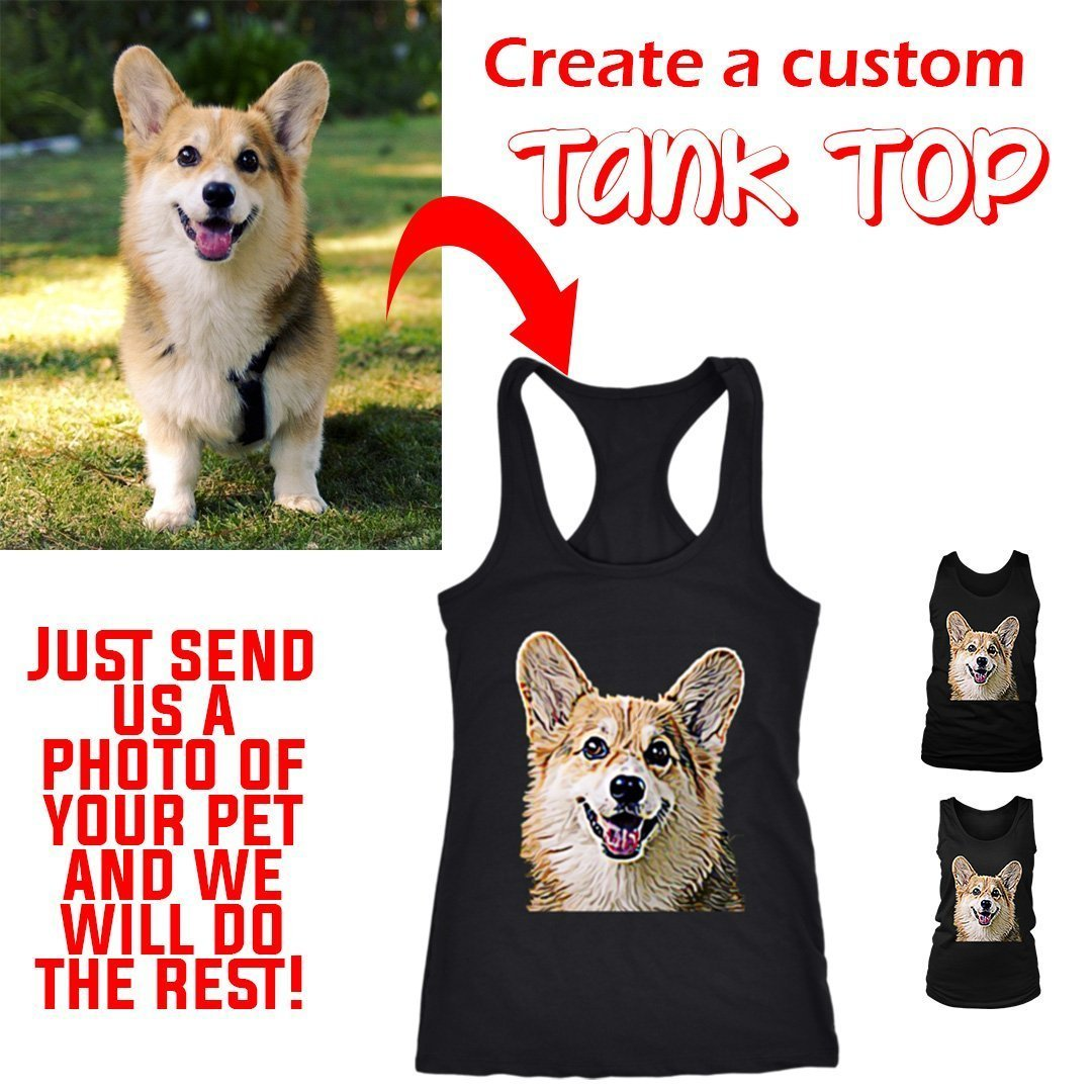 Custom Tank Top from a Photo of Your Pet-Custom Tank Top-I love Veterinary