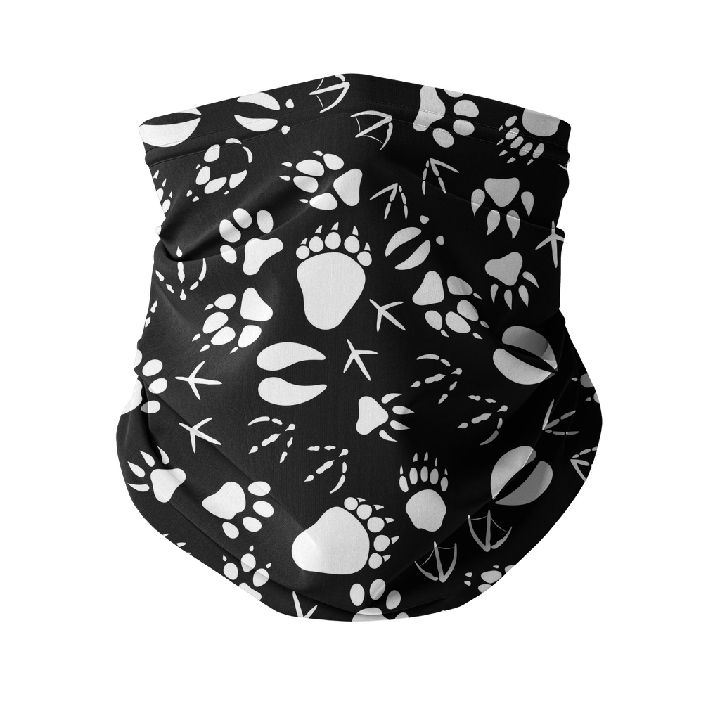 Animal pawprints black pattern Sublimation Neck Gaiter-Accessories-I love Veterinary