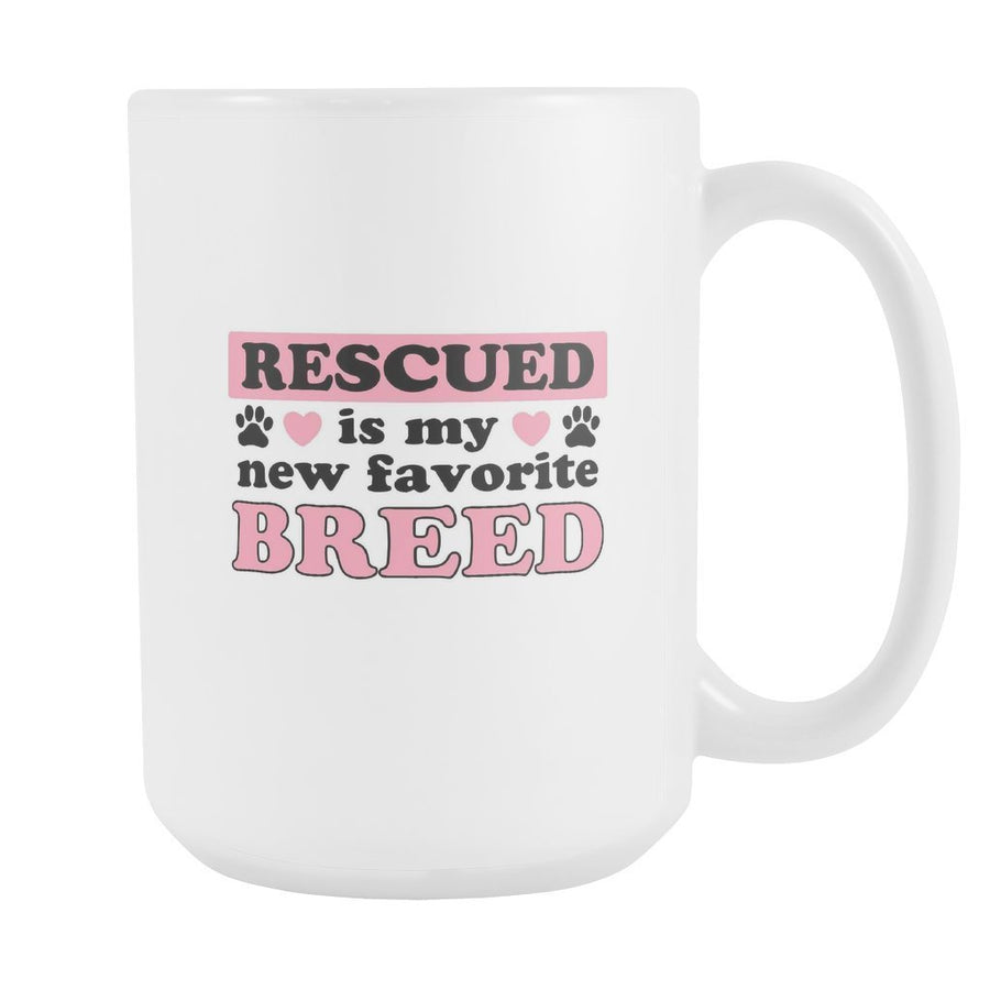 Animal Rescue - Rescued is my new favorite breed White Mug 15oz-Drinkware-I love Veterinary
