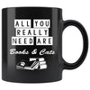 Cats - Books and Cats 11oz Black Mug-Drinkware-I love Veterinary