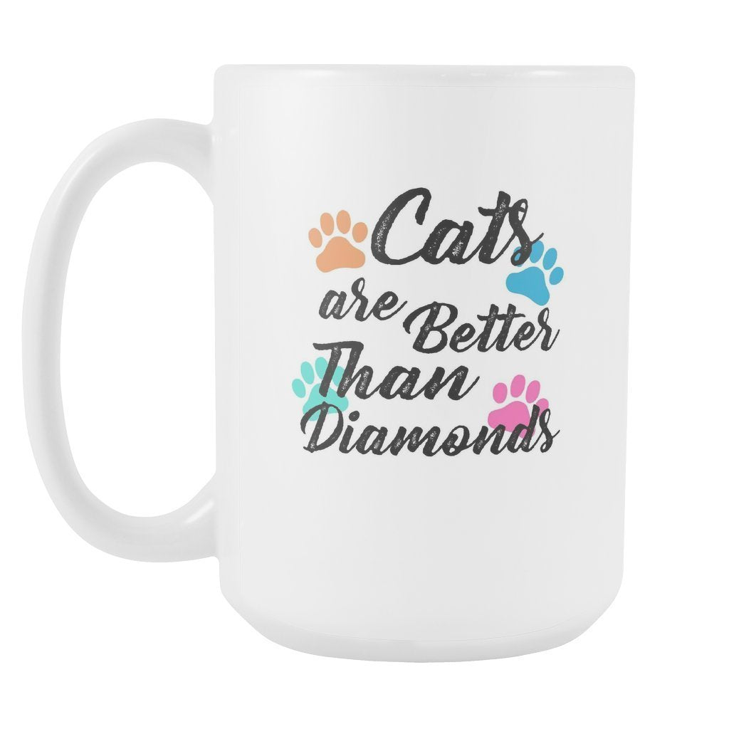 Cats - Cats are better than diamonds White Mug 15oz-Drinkware-I love Veterinary