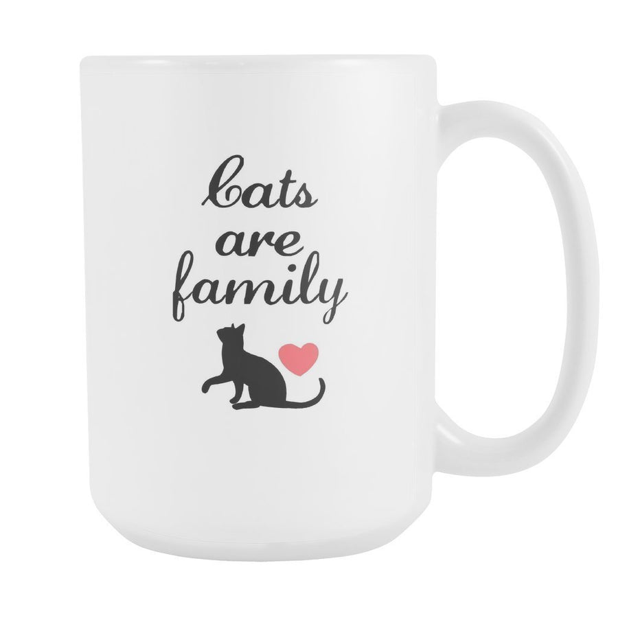 Cats - Cats are family White Mug 15oz-Drinkware-I love Veterinary
