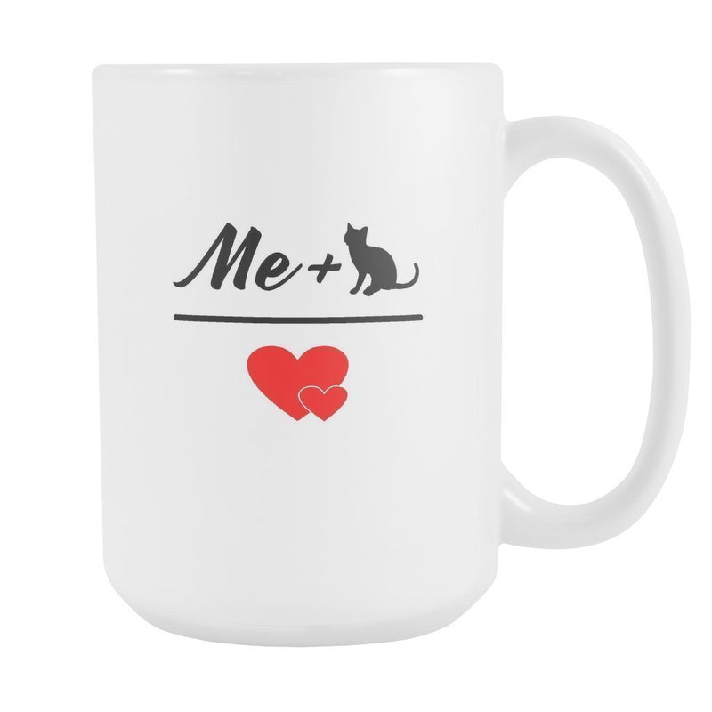 Cats - Me + Cat White Mug 15oz-Drinkware-I love Veterinary