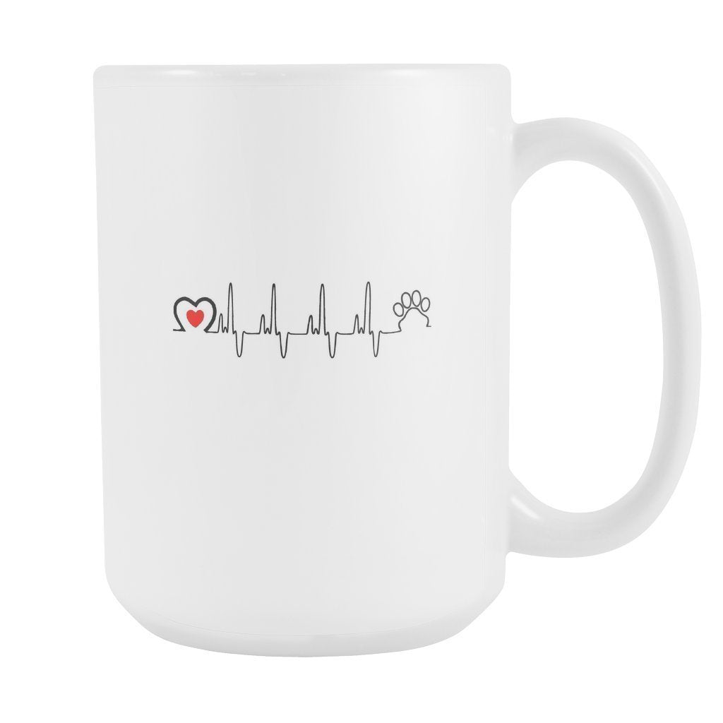 Pets - Animal Love Beat White Mug 15oz-Drinkware-I love Veterinary
