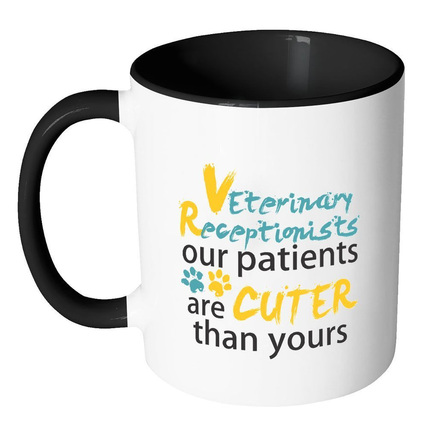 Vet Receptionist Inner Color Mug 11oz - Our patients are cuter than yours-Drinkware-I love Veterinary