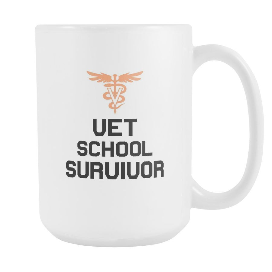 Vet Student - Vet school survivor White Mug 15oz-Drinkware-I love Veterinary