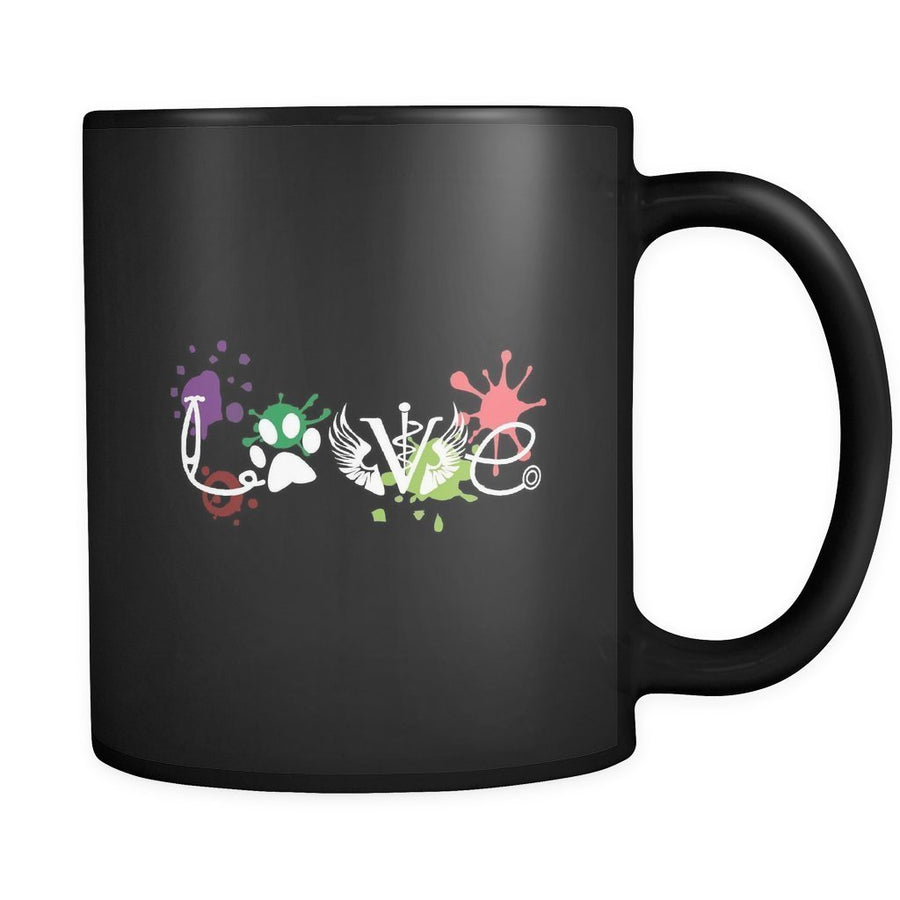 Veterinary - LOVE Veterinary Medicine Black Mug 11oz-Drinkware-I love Veterinary